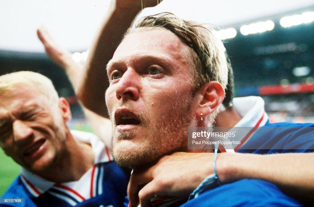 1998 World Cup Finals, St, Denis, France, 11th JULY 1998, Third Place Play-Off, Croatia 2 v Holland 1, Croatia's Robert Prosinecki, celebrates his first half goal : News Photo