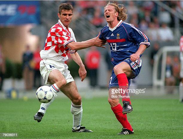 World Cup Finals St Denis France SemiFinal 8th July France 2 v Croatia 1 France's Emmanuel Petit challenges Croatia's Zvonimir Soldo for the ball