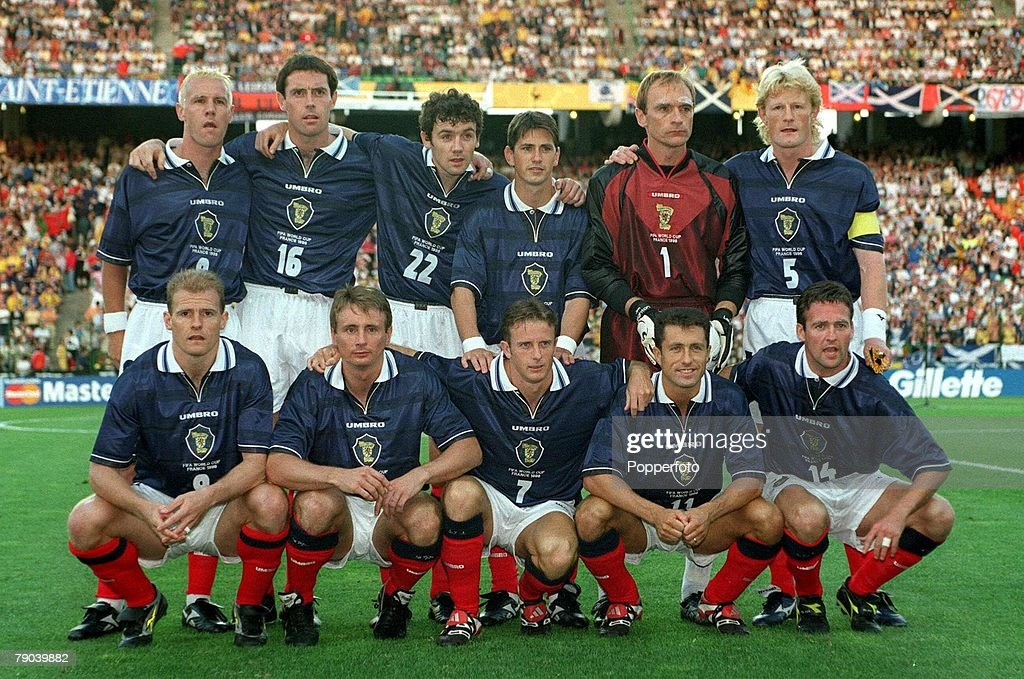 World Cup Finals, St, Etienne, France, 23rd June 1998, Scotland 0 v Morocco 3, The Scotland team line-up for a group photograph