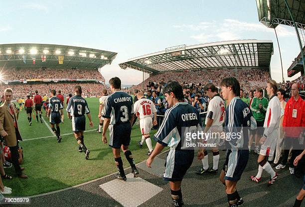 World Cup Finals, St, Etienne, France 30th June England 2 v Argentina 2, , The two teams come out from the tunnel into the Geoffroy-Guichard Stadium...
