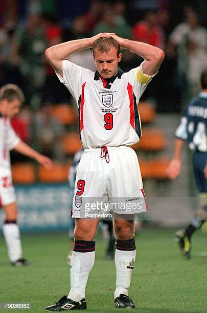 World Cup Finals St Etienne France 30th June England 2 v Argentina 2 England's Alan Shearer dejected after the penalty shootout