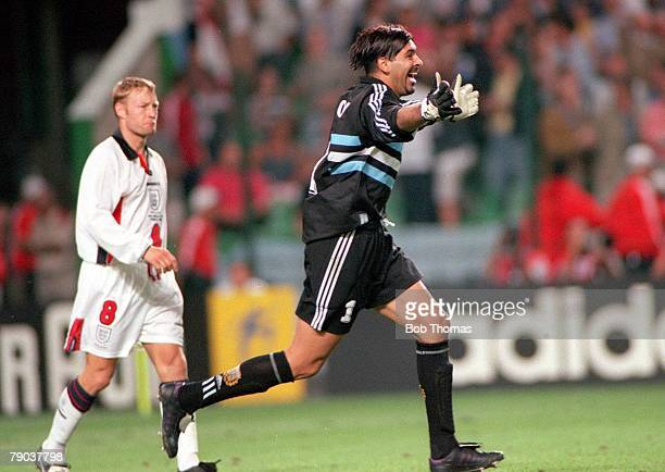 World Cup Finals St Etienne France 30th June England 2 v Argentina 2 Argentine goalkeeper Carlos Roa celebrates after England's David Batty missed...