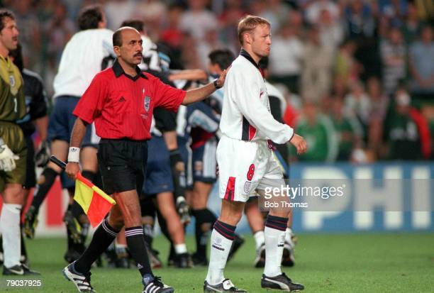 World Cup Finals St Etienne France 30th June England 2 v Argentina 2 England 's David Batty is grim faced after he missed the vital kick in the...