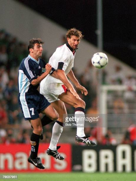 World Cup Finals St Etienne France 30th June England 2 v Argentina 2 England's Tony Adams beats Argentina's Claudio Lopez to the ball