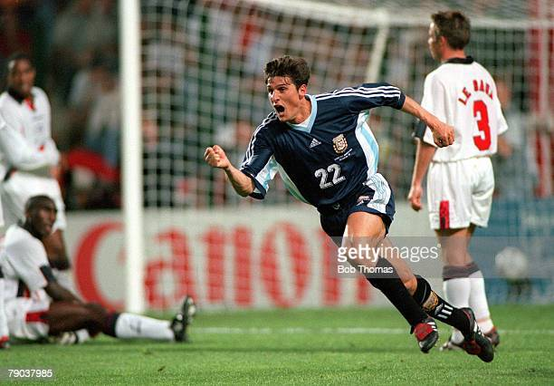 World Cup Finals St Etienne France 30th June England 2 v Argentina 2 Argentina's Javier Zanetti celebrates his equalising goal