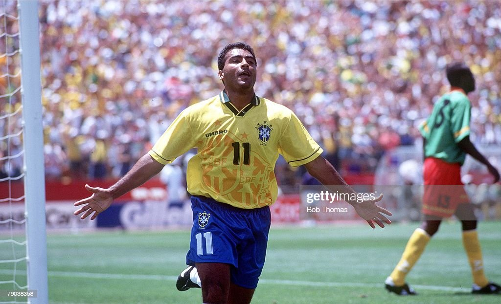 1994 World Cup Finals. Stanford, USA. 24th June, 1994. Brazil 3 v Cameroon 0. Brazil's Romario celebrates after he scored the 1st goal. : ニュース写真