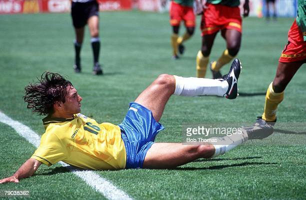 World Cup Finals Stanford USA 24th June Brazil 3 v Cameroon 0 Brazil's Leonardo on the floor after a challenge