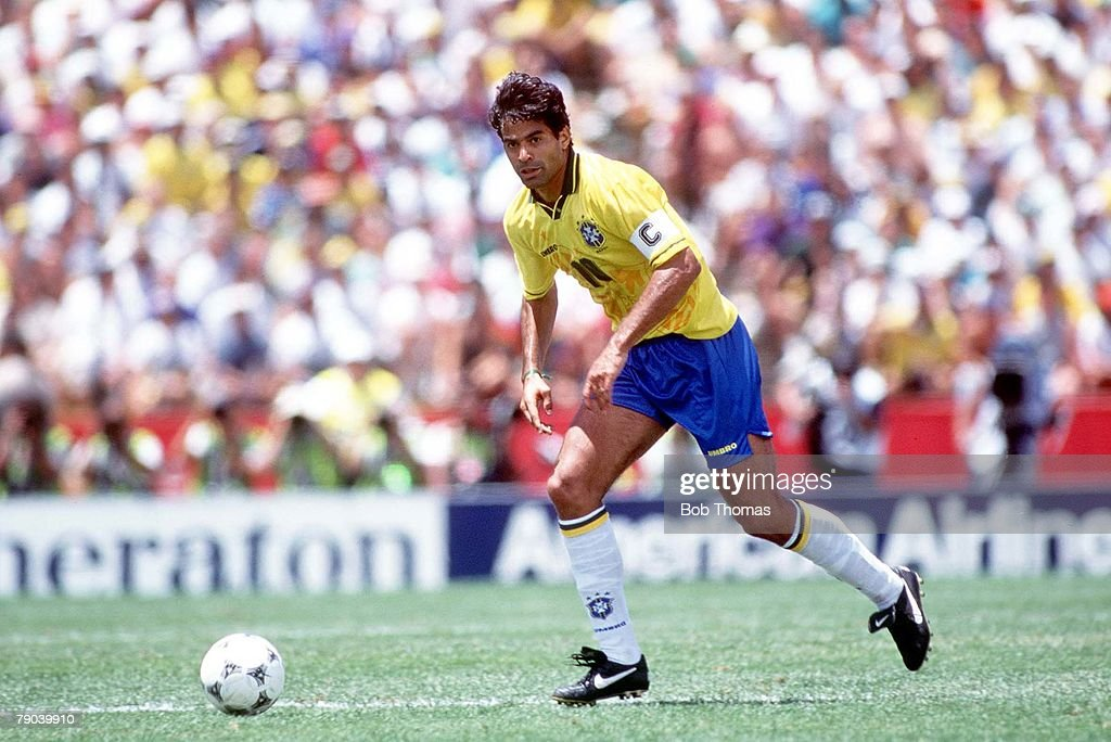 1994 World Cup Finals. Stanford, USA. 24th June, 1994. Brazil 3 v Cameroon 0. Brazil's captain Rai in action. : News Photo