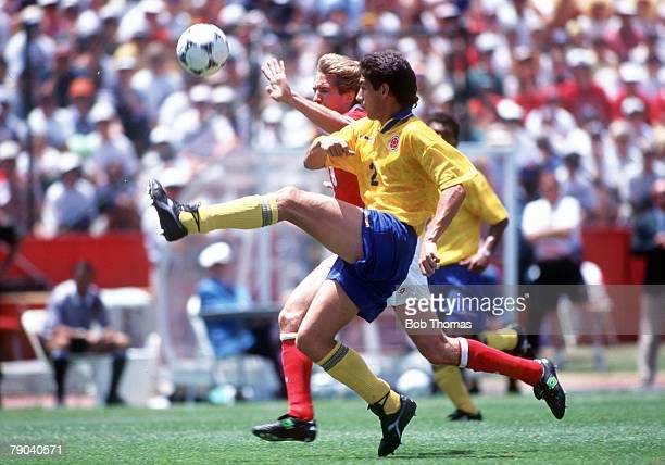 World Cup Finals Stanford USA 26th June Colombia 2 v Switzerland 0 Colombia's Andres Escobar beats Adrian Knup of Switzerland