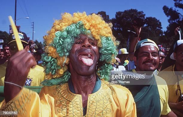 World Cup Finals Stanford USA 4th July Brazil 1 v USA 0 A Brazilian fan celebrates after the match