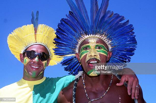 World Cup Finals Stanford USA 4th July Brazil 1 v USA 0 Brazilian fans wearing traditional feathered headdress in a carnival atmosphere