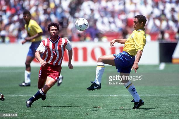 World Cup Finals Stanford USA 4th July Brazil 1 v USA 0 USA's Hugo Perez and Brazil's Zinho battle for the ball