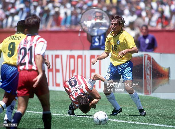 World Cup Finals Stanford USA 4th July Brazil 1 v USA 0 USA's Tab Ramos falls to the ground after being elbowed by Brazil's Leonardo Leonardo was...