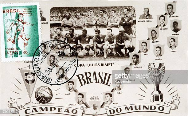 World Cup Finals Sweden Commemorative postcard in celebration of Brazil's World Cup success they beat Sweden 52 in the Final