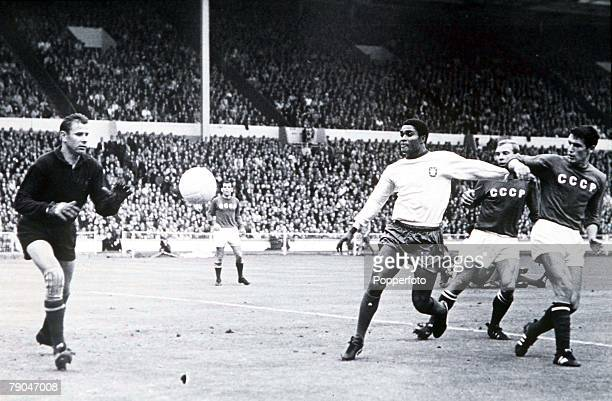 World Cup Finals Third Place PlayOff Wembley Stadium England 28th July Portugal 2 v Soviet Union 1 Soviet Union's goalkeeper Lev Yashin moves in to...