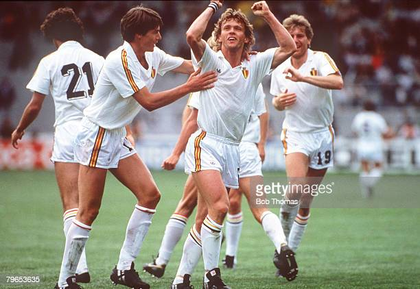 World Cup Finals Toluca Mexico 11th June Belgium 2 v Paraguay 2 Belgium's Frank Vercauteren celebrates his goal with Georges Grun and Hugo Broos