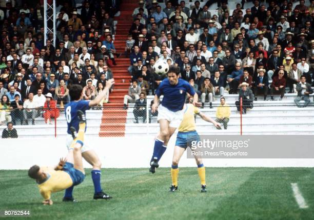 World Cup Finals Toluca Mexico 3rd June Italy 1 v Sweden 0 A Swedish forward falls under challenge from Italy's Roberto Rosato as another Italian...