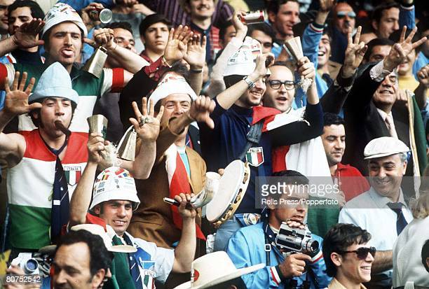 World Cup Finals Toluca Mexico 3rd June Italy 1 v Sweden 0 Italian fans cheer their team on against Sweden during the two team's Group Two match