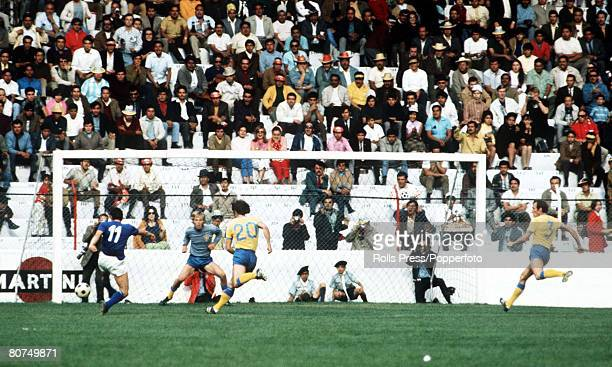 World Cup Finals Toluca Mexico 3rd June Italy 1 v Sweden 0 Italy's Luigi riva shoots just wide of the Swedish goal as goalkeeper Hellstroem looks on...