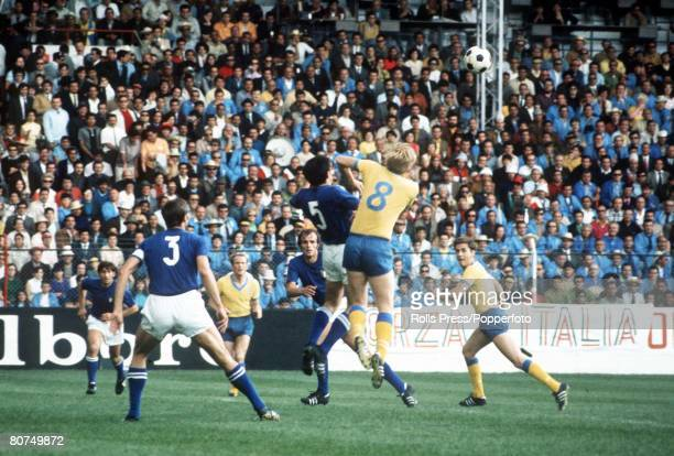 World Cup Finals Toluca Mexico 3rd June Italy 1 v Sweden 0 Italy's Pier Luigi Cera and Sweden's Kristensson leap high for the ball as Italian captain...