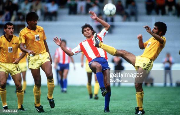 World Cup Finals Toluca Mexico 4th June Paraguay 1 v Iraq 0 Paraguay's Roberto Cabanas battles for the ball with Iraq's Allawe
