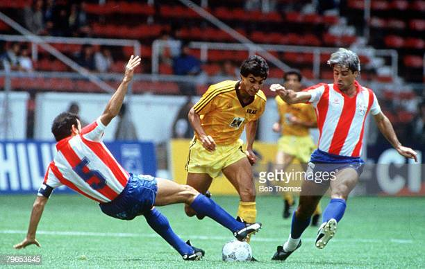 World Cup Finals Toluca Mexico 4th June Paraguay 1 v Iraq 0 Paraguay's Rogelio Delgado and Nunez challenge Iraq's Amaiesh