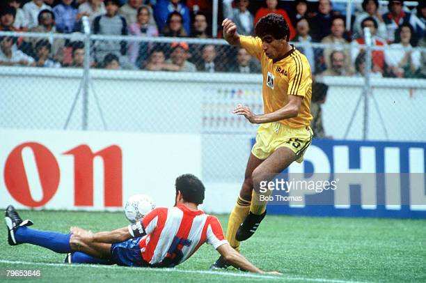 World Cup Finals Toluca Mexico 4th June Paraguay 1 v Iraq 0 Paraguay's Rogelio Delgado challenges Iraq's Abidoun for the ball