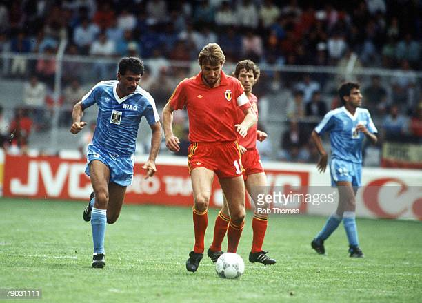 World Cup Finals Toluca Mexico 8th June Belgium 2 v Iraq 1 Belgium's Jan Ceulemans on the ball marked by Iraq's Minshid