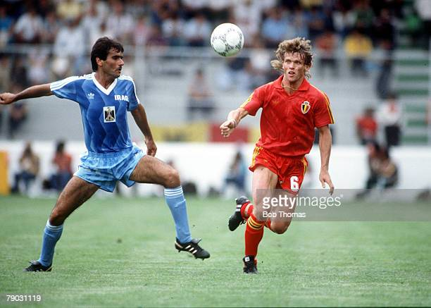 World Cup Finals Toluca Mexico 8th June Belgium 2 v Iraq 1 Belgium's Frank Vercauteren goes for the ball with Iraq's Hanna