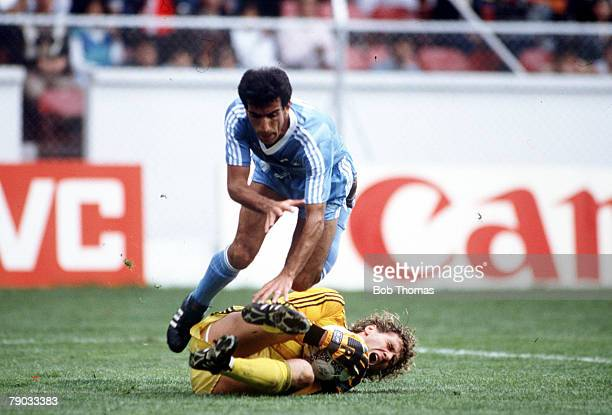 World Cup Finals Toluca Mexico 8th June Belgium 2 v Iraq 1 Belgium's goalkeeper Jean Marie Pfaff saves from Iraq's Hassan