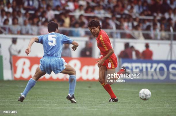World Cup Finals Toluca Mexico 8th June Belgium 2 v Iraq 1 Belgium's Enzo Scifo and Iraq's Mahmoud battle for the ball