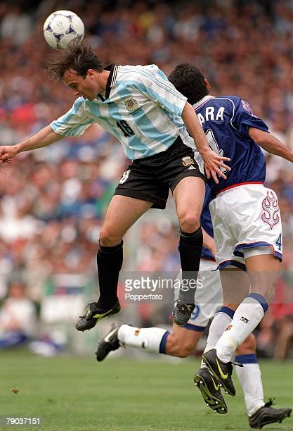World Cup Finals Toulouse France 14th June Argentina 1 v Japan 0 Abel Balbo Argentina heads clear beating Japan's Masami Ihara