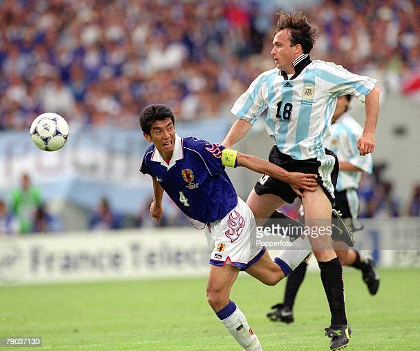 World Cup Finals Toulouse France 14th June Argentina 1 v Japan 0 Japan's Masami Ihara beaten to the ball by Argentina's Abel Balbo