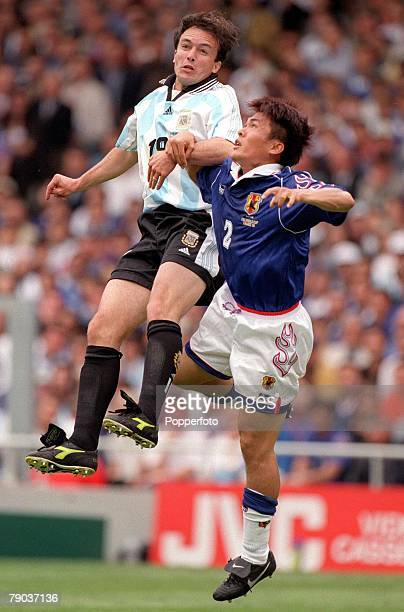 World Cup Finals Toulouse France 14th June Argentina 1 v Japan 0 Argentina's Abel Balbo jumps for the ball with Japan's Akira Narahashi