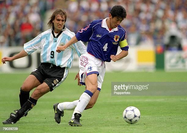 World Cup Finals Toulouse France 14th June Argentina 1 v Japan 0 Japan's Masami Ihara turns away from Argentina's Gabriel Batistuta