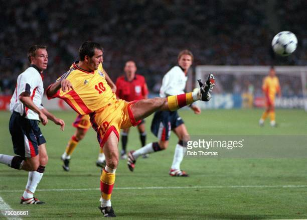 World Cup Finals Toulouse France 22nd June England 1 v Romania 2 Romania's Gheorghe Hagi crosses the ball to set up the first goal for Moldovan to...
