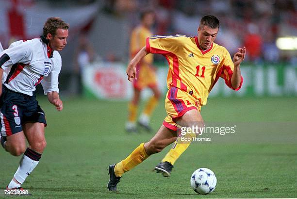 World Cup Finals Toulouse France 22nd June England 1 v Romania 2 Romania's Adrian Ilie races away from England's Graeme Le Saux