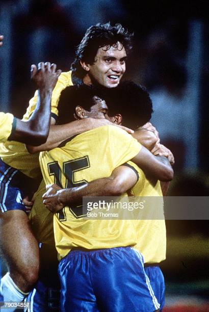 World Cup Finals Turin Italy 10th June Brazil 2 v Sweden 1 Brazil's Careca is congratulated by teammate Branco after scoring his goal