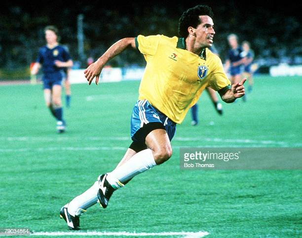 World Cup Finals Turin Italy 10th June Brazil 2 v Sweden 1 Brazil's Careca turns to celebrate after scoring one of his side's two goals