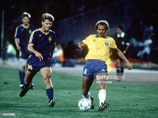 World Cup Finals Turin Italy 10th June Brazil 2 v Sweden 1 Brazil's Alemao is challenged for the ball by Sweden's Joakim Nilssonleft