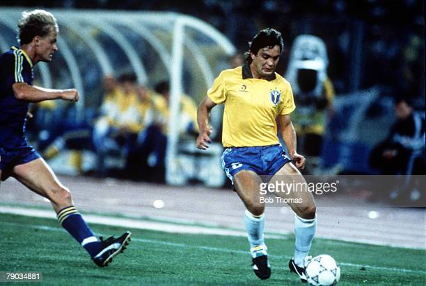 World Cup Finals Turin Italy 10th June Brazil 2 v Sweden 1 Brazil's Branco on the ball as a challenge comes in