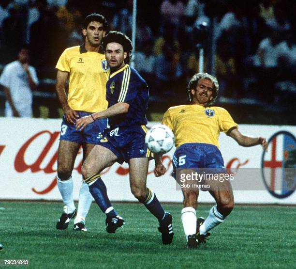 World Cup Finals Turin Italy 10th June Brazil 2 v Sweden 1 Sweden's Anders Limpar beats Brazil's Alemao to the ball