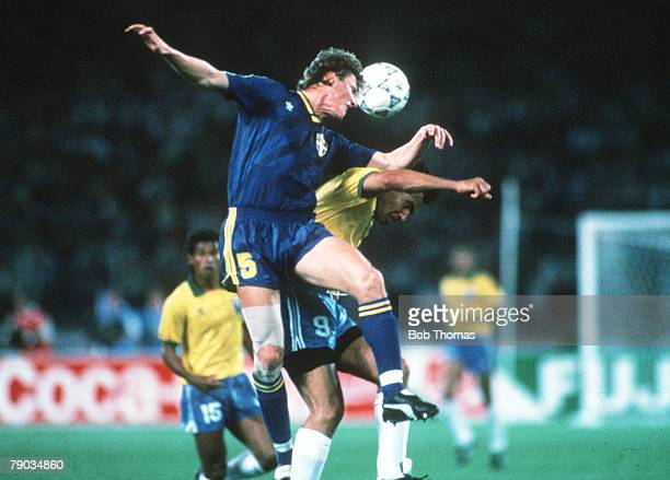 World Cup Finals Turin Italy 10th June Brazil 2 v Sweden 1 Sweden's Roger Ljung outjumps Brazil's Careca to win the ball in the air