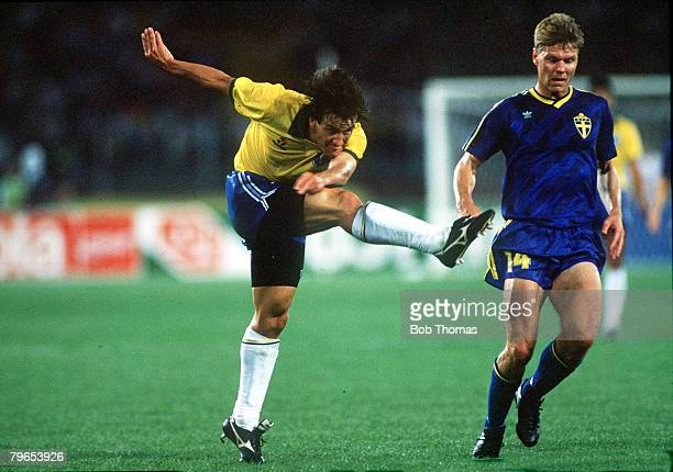 World Cup Finals, Turin, Italy, 10th June Brazil 2 v Sweden1, Brazil's Dunga shoots at goal