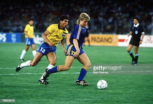 World Cup Finals Turin Italy 10th June Brazil 2 v Sweden1 Sweden's Thomas Brolin prepares to score