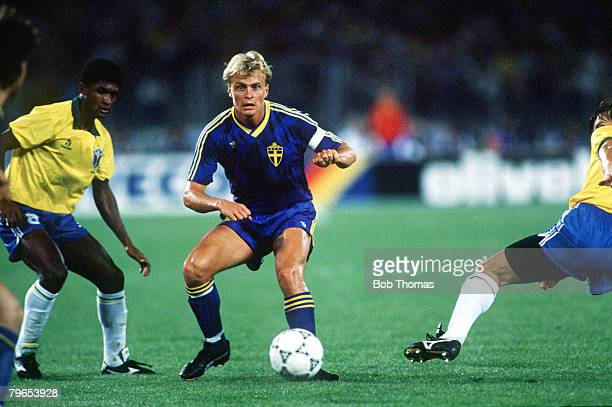 World Cup Finals Turin Italy 10th June Brazil 2 v Sweden1 Sweden's Jonas Thern plays the ball past Brazilian defenders
