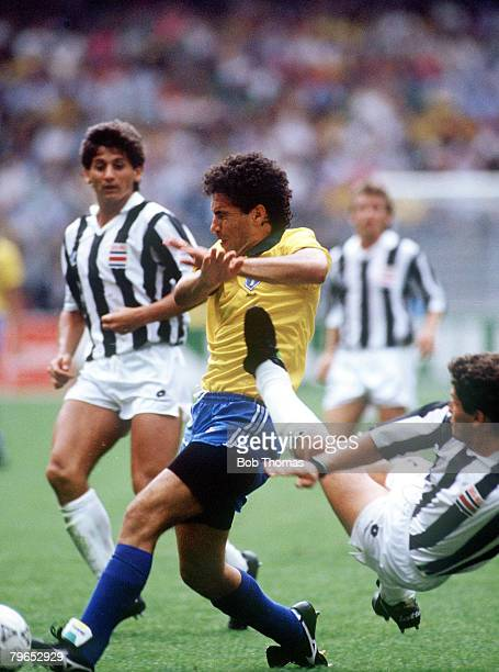 World Cup Finals Turin Italy 16th June Brazil 1 v Costa Rica 0 Brazil's Careca is put under pressure by Costa Rica's Mauricio Montero