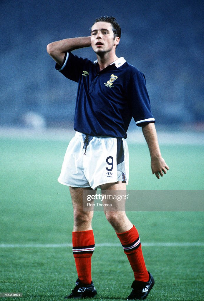 1990 World Cup Finals. Turin, Italy. 20th June, 1990. Brazil 1 v Scotland 0. Scotland's Ally McCoist. : News Photo