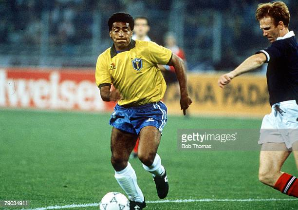 World Cup Finals Turin Italy 20th June Brazil 1 v Scotland 0 Brazil's Romario on the ball watched by Scotland's Alex McLeish