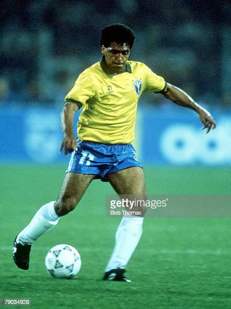 World Cup Finals Turin Italy 20th June Brazil 1 v Scotland 0 Brazil's Romario on the ball